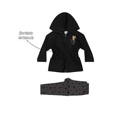 Conjunto infantil moletom bordado algodao meninas 1 a 3 anos Cor:preto;Tamanho:1 ano