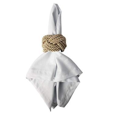 Imagem de Kit Anel porta Guardanapos Trançado bege com 4 anéis e guardanapos Lar em Cor