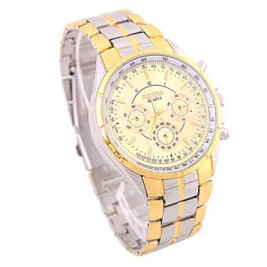fcb0c629d57 Relógio De Pulso Masculino Analógico Mostrador Dourado Aço