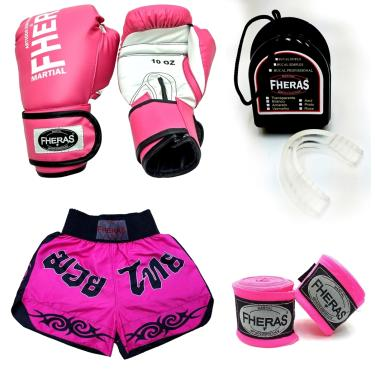 Kit Muay Thai Fheras Luva Bandagem Bucal Shorts 12oz Rosa