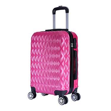 Mala de Bordo Viagem Pequena ABS - (55 x 35 x 22cm) C/ 4 Rodinhas 360º - (Regulamentação ANAC) Rosa Melancia