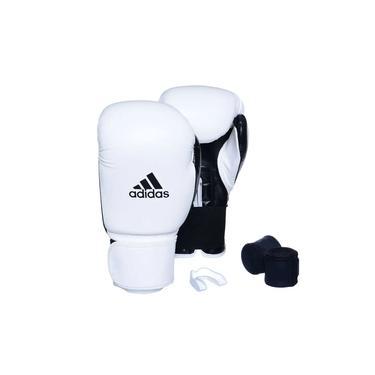 Kit Luva Adidas Power 100 Colors Branco/Preto com Bandagem Preto e Bucal Simples