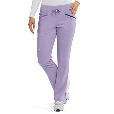 Calça feminina Grey's Anatomy Impact – Calça de uniforme médico de extremo conforto, Wistéria, roxo, Large Petite