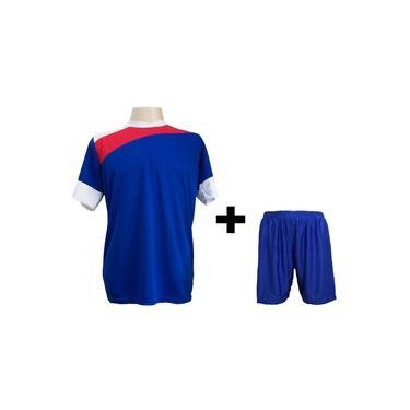 Uniforme Esportivo com 14 camisas modelo Sporting Royal/Vermelho/Branco + 14 calções modelo Madrid Royal +