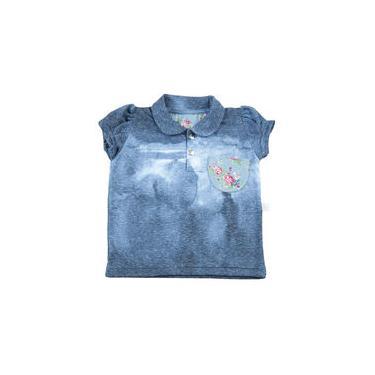 Blusa Infantil em Malha Reciclato Manchada com gola e Bolso - Marinho