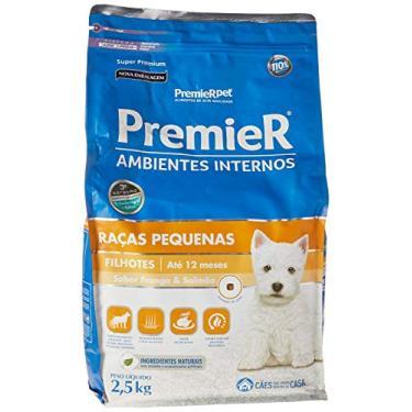 Ração Premier para Cães Filhotes de Raças Pequenas Ambientes Internos Sabor Frango e Salmão, 2,5kg Premier Pet Raça Filhotes,