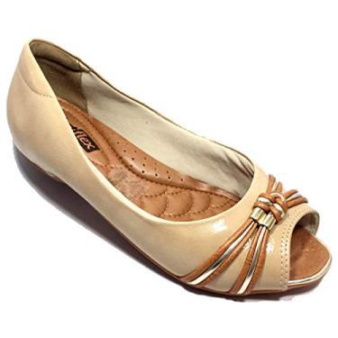 Sapatilha Comfortflex Com Detalhe Feminina - Dourado - 34
