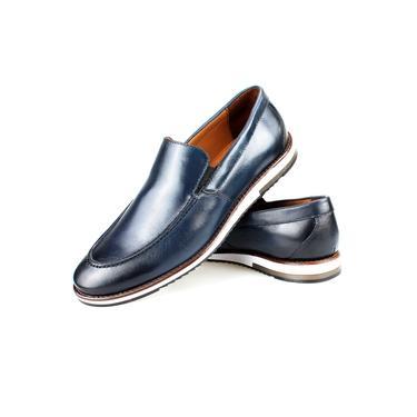 Sapato Casual Masculino Couro Azul Marinho Solado EVA