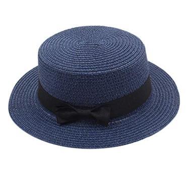 yotijar Elegante Flat Top Bow Fedora Hat Chapéu de Sol Chapéu de Palha Chapéu Fishman - Marinha