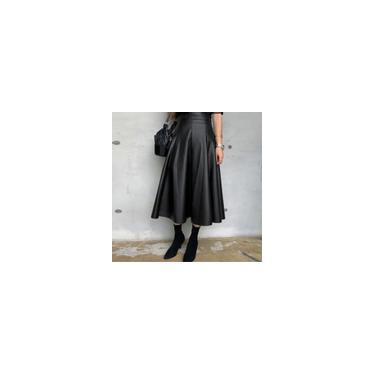 Vestido feminino de couro pu com baloiço sólido e saia solta plus size vestido de festa de cintura alta Preto 4XL
