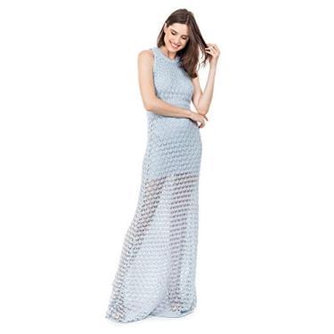Tricô Vestido Longo de Tricot Bella Store Renda Rodado Feminino Cor:Azul Claro;Tamanho:Único;Gênero:Feminino