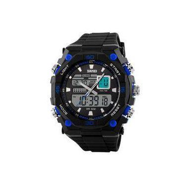 3c590bcb0c4 Relógio Masculino Skmei Anadigi 1092 Pt-Az