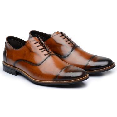 Sapato Social Couro Stefanello York Caramelo  masculino