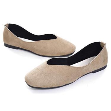 LUXINYU Sapatilha feminina retrô bico quadrado sapatilha macia sólida fofa slip-on casual confortável, Caqui, 7.5