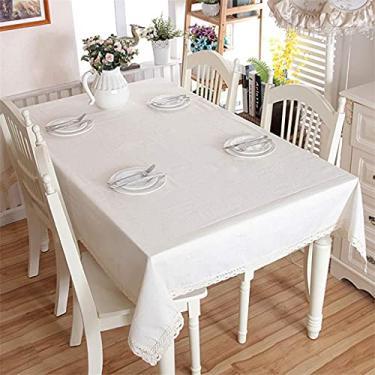 Imagem de Toalha de mesa retangular de algodão 140 * 220 cm 140 * 220 cm, toalha de mesa para mesa de jantar, capa de mesa de linho de poliéster à prova de poeira à prova de rugas para refeições de co