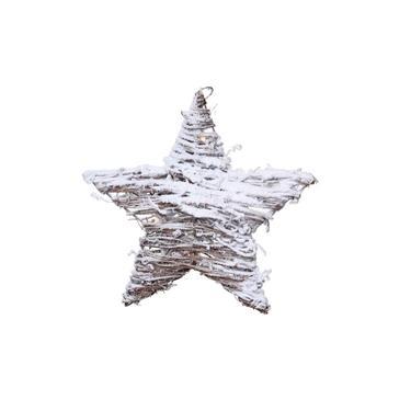 Estrela Rattan Rústica Decoração Natal 15 Leds Branco