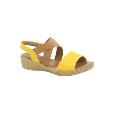 Sandália Anabela Couro Usaflex Camel/Amarelo V1251