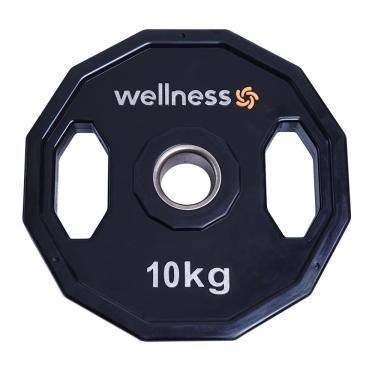 Imagem de Anilha Poliuretano Furacao Olímpica 12 Faces com Pegada 10kg Wellness - WK016