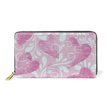 My Little Nest Bolsa carteira feminina de couro genuíno para dia dos namorados corações rosa porta-cartões organizador zíper ao redor da embreagem