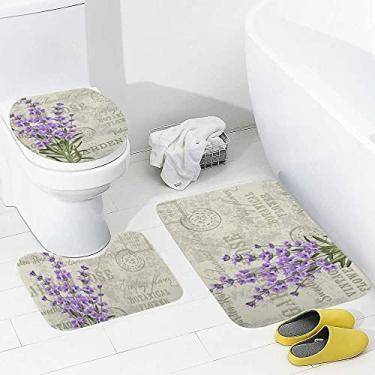 Imagem de Vantaso Conjunto de tapetes de banheiro com 3 peças vintage de jornal e lavanda, tapete de banheiro antiderrapante para vaso sanitário, tampa