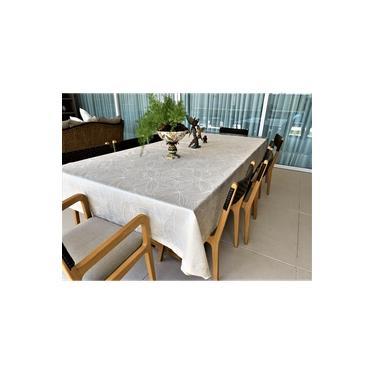 Imagem de Toalha De Mesa Impermeavel Quadrada 160x160 Botanic Bege - Pietra Home