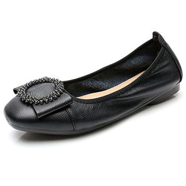 Odema Sapatilhas femininas sem cadarço, bico quadrado, fivela, sapato de caminhada, Preto, 5