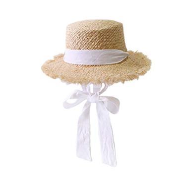 ABOOFAN Chapéu de palha de praia de aba larga protetor solar de festa Chapéu de palha de pescador Chapéu de proteção solar para viagens de férias festa (branco) Lembrancinhas