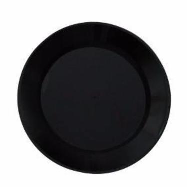Kit 150 Pratos Plásticos de Sobremesa Pretos Duros