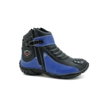 Bota Motociclista Masculina Couro Zíper Cano Curto Dia a Dia Preto/Azul