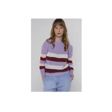 Suéter de Tricot Listrado Levemente Bufante Under79 Lilás com Vermelho