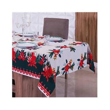 Imagem de Toalha de Mesa Natalina 6 Cadeiras Poá com Velas Premium