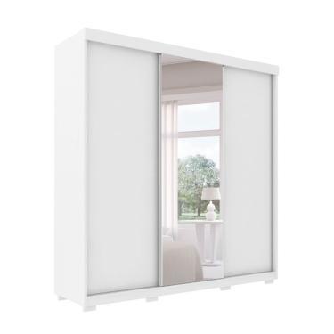 Guarda-Roupa Casal com Espelho Toronto 3 PT 6 GV Branco