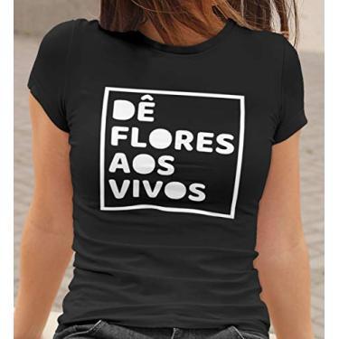 Camiseta Baby Look Dê Flores aos Vivos Feminino Preto Tamanho:G