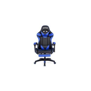 Cadeira Gamer PCTOP Racer 1006 - Preta e Azul - Reclinável - Descanso de pés