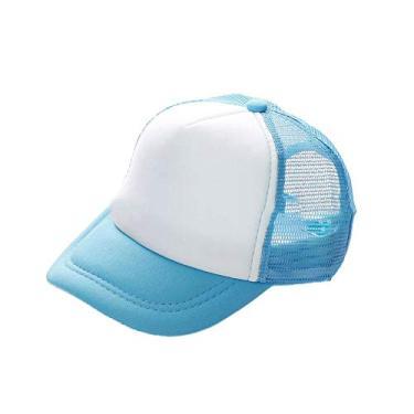 flminternational Bonés de beisebol com abertura para rabo de cavalo, boné de verão de malha simples com fecho de pressão ajustável para mulheres e homens, Azul claro + branco