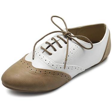 Ollio sapato feminino clássico com cadarço salto baixo Oxford, Taupe-white, 6