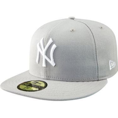 Imagem de BONE 59FIFTY MLB NEW YORK YANKEES ABA RETA FITTED CINZA New Era