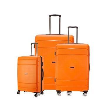 Conjunto de Malas de Viagem em POLIPROPILENO Londres Rodas Duplas, TSA GoSuper 3 Pcs P/M/G Laranja