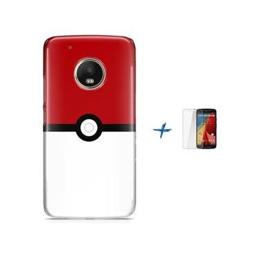 Kit Capa TPU Moto G5 Plus Pokemon Go Pokebola Pokeball + Pel Vidro (BD01)