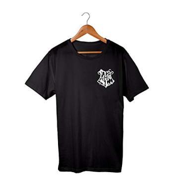 Camiseta Unissex Harry Potter Brasão Hogwarts FIlme 100% Algodão (Preto, M)