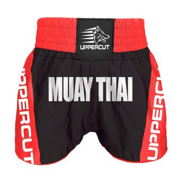 Calção Short Muay Thai Premium Preto/Verm - G