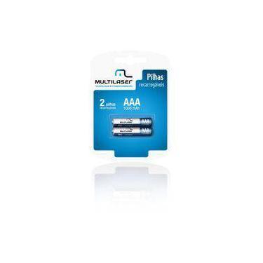 Pilha Recarregável Multilaser Aaa 1000 Mah, Pack Com 2 - Cb051