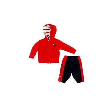 Conjunto calça e blusa com capuz Flamengo, Rêve D'or Sport, Bebê Unissex, Vermelho/Preto, P