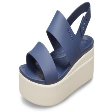Sandália Crocs Brooklyn Low Wedge W Azul/Bege  feminino