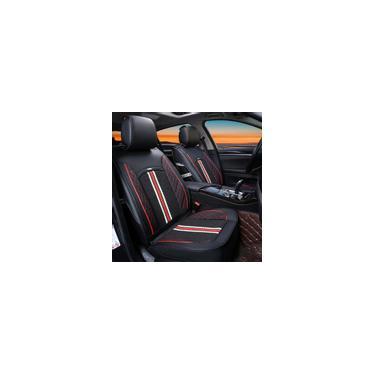 Conjunto completo de capas de assento de carro universais de 5 cores com assento de carro de couro à prova d'água Almofada de proteção para interiores de automóveis para caminhões suv Sedan Preto