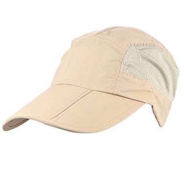 1 unidade boné de beisebol dobrável da moda Chapéu de beisebol Nylon chapéu de proteção solar boné repicado para caminhadas de verão ao ar livre (cáqui)