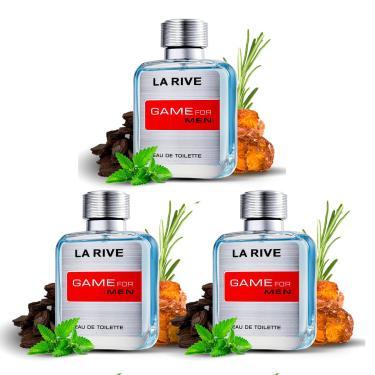 Imagem de Kit 3 Perfumes Importados Masculinos Game For Men La Rive