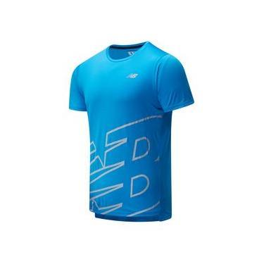 Camiseta de Manga Curta New Balance Printed Accelerate Ss | Masculino Azul - P