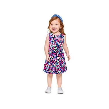 Vestido Infantil Brandili Verão Confeti Bolinhas Coloridas Menina 1-4 Anos (1, com lacinho dourado aplicado)