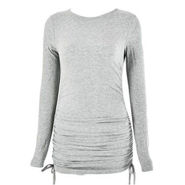 SELX Vestido feminino sexy de manga comprida com cordão lateral e gola redonda cor lisa, Cinza, S